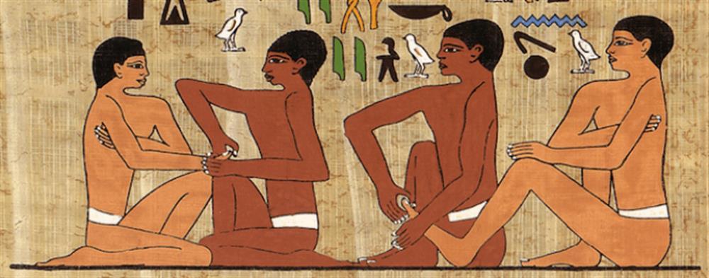 Hiéroglyphe égyptien datant de 2330 ans avant Jésus-Christ, retrouvait dans le tombeau du physicien Ankhamahor et représentant la réflexologie palmaire et plantaire.